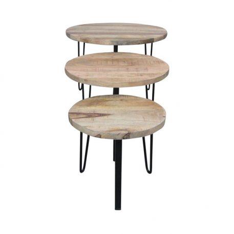 interiordirect.nl - bijzettafels set van 3 rond mango hout